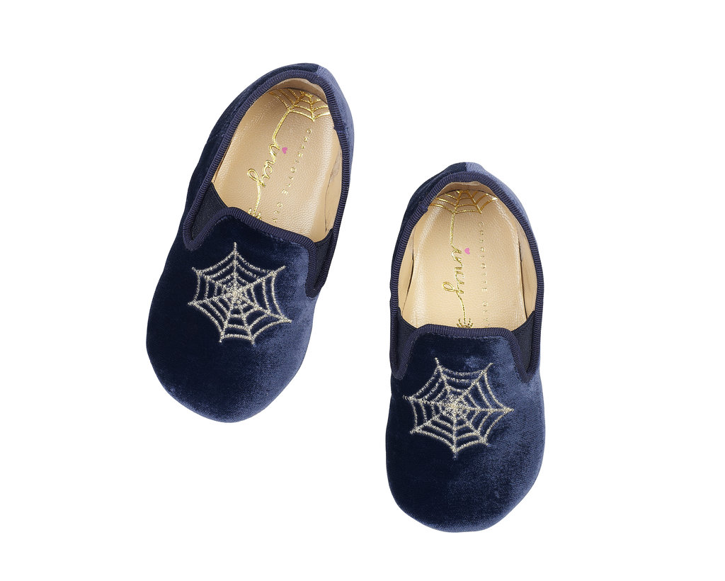 Charlotte Olympia Wincy slip-on shoes ($125) in navy.