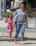 Jennifer Garner walked with Violet in LA on Monday.