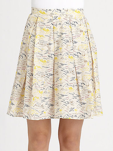 Band of Outsiders Pleated Travel Print Skirt