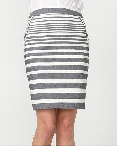 Le Château Double Weave Stripe Pencil Skirt