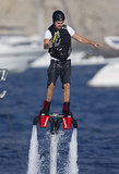 On August 6, Leonardo DiCaprio rode on a FlyBoard in Spain.