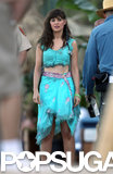 Zooey Deschanel wore a tattered sari on the set of New Girl.