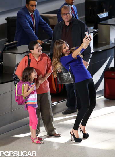 Sofia Vergara snapped a selfie with her costars Rico Rodriguez and Aubrey Anderson-Emmons on the LA set of Modern Family in August 2013.