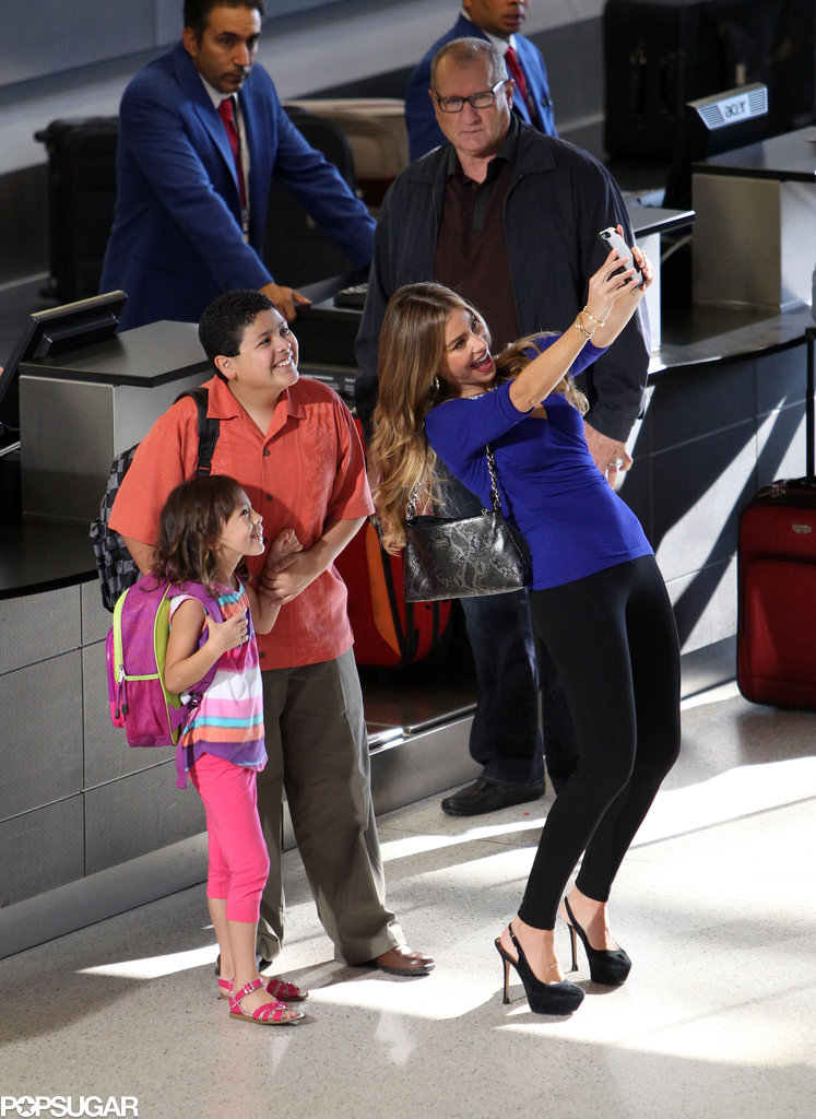 Sofia Vergara snapped a selfie with her costars Rico Rodriguez and Aubrey Anderson-Emmons on the LA set of Modern Family in August.