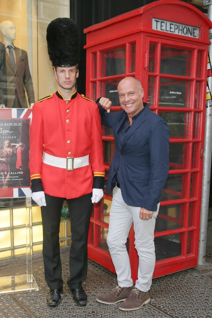 Simon Kneen got into the British spirit at the Banana Republic and Issa London kickoff event in New York.