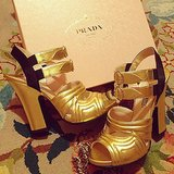 Prada's gold leather heels were reason enough for Amy Astley to snap. Source: Instagram user amytastley