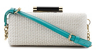 Tonda Raffia Clutch w/ Strap In White