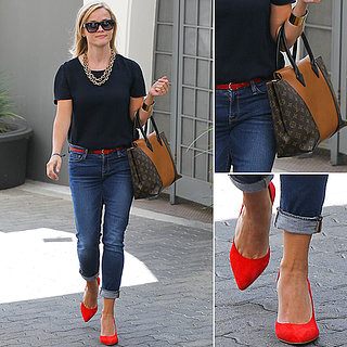 Reese Witherspoon Is Preppy in Boyfriend Jeans