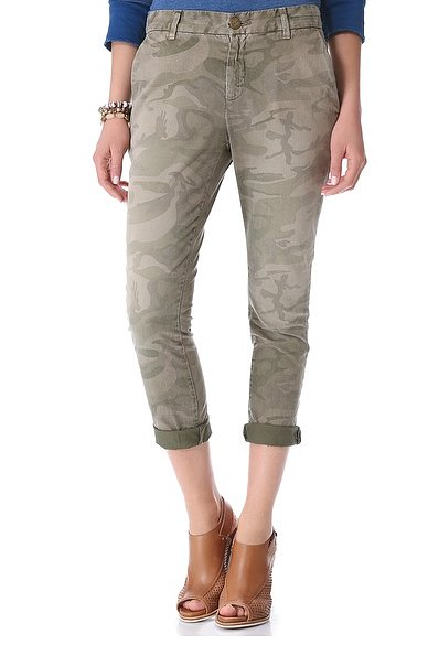 Get in on the camo trend the easy way with these everyday Current/Elliott Buddy Trousers ($167, originally $238).