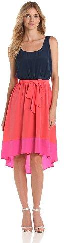 AGB Women's Sleeveless Colorblock Hi Low Hem Dress