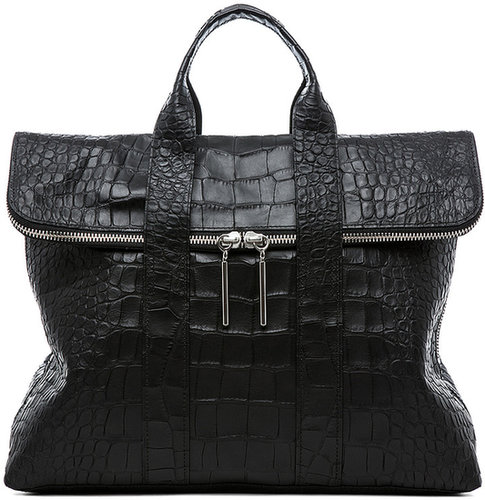 3.1 phillip lim Matte Crocodile Embossed 31 Hour Bag in Black