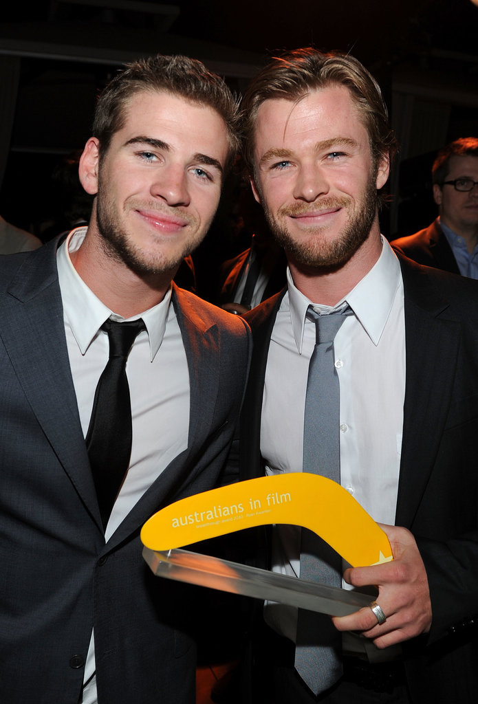 Chris and his younger brother Liam Hemsworth celebrated his AIF Breakthrough Award win at the Australians in Film Breakthrough Awards in May 2010.