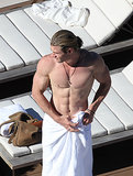 Chris revealed his top physique in Sydney in June 2012.