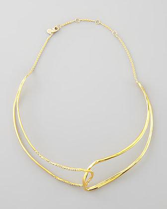 Alexis Bittar Liquid Golden Open Collar Necklace