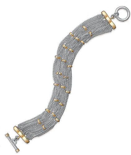 Lauren Ralph Lauren Bracelet, 14k Gold-Plated Two Tone Woven Bracelet