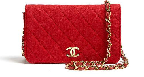 Red Jersey Quilted Chanel Shoulder Bag By Rewind Vintage