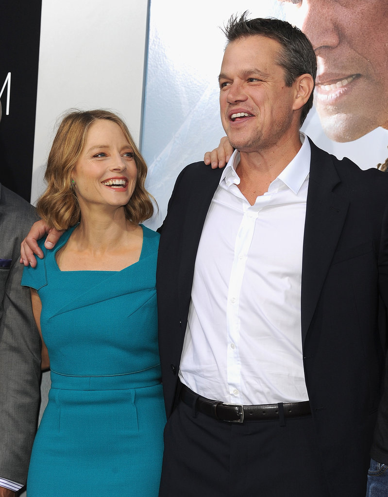 Matt Damon and Jodie Foster posed on the red carpet at their Elysium premiere.