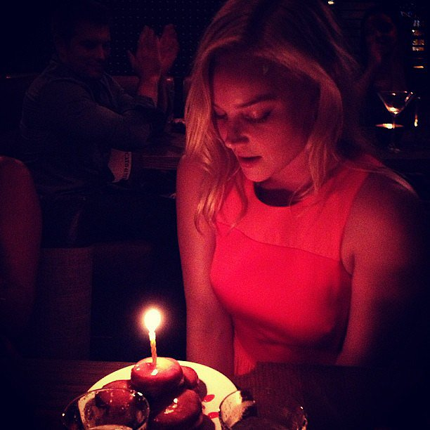 Abbie Cornish blew out the candles on her birthday dessert. Source: Instagram user bryangreenberg