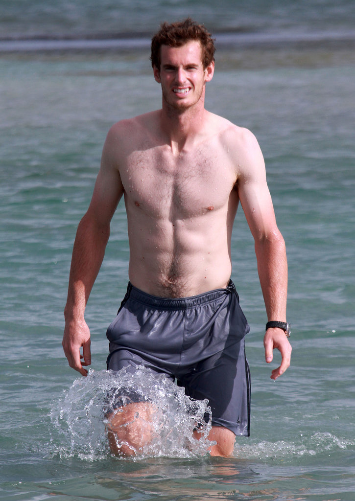 Wimbledon winner Andy Murray took a dip in the ocean in Florida earlier in the Summer.