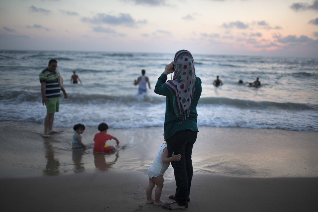 In Tel Aviv, Israel, a Muslim family enjoyed time in the sea during Ramadan.