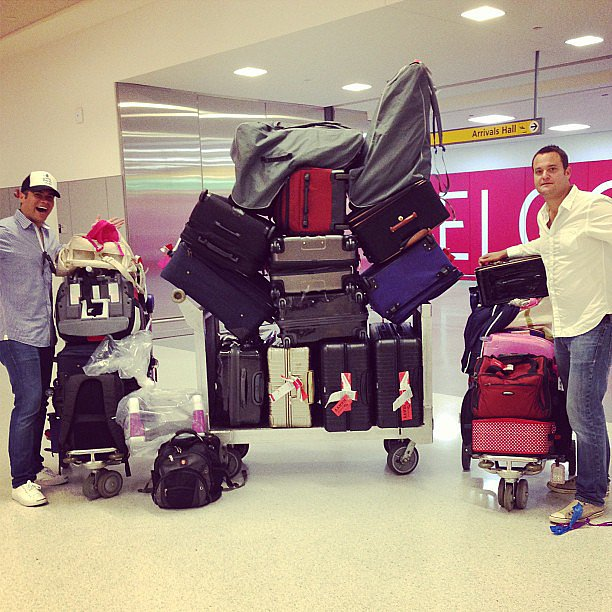 Cash Warren showed off just how much luggage two families with kids need when traveling cross-country. How many car seats do you count? Source: Instagram user cash_warren