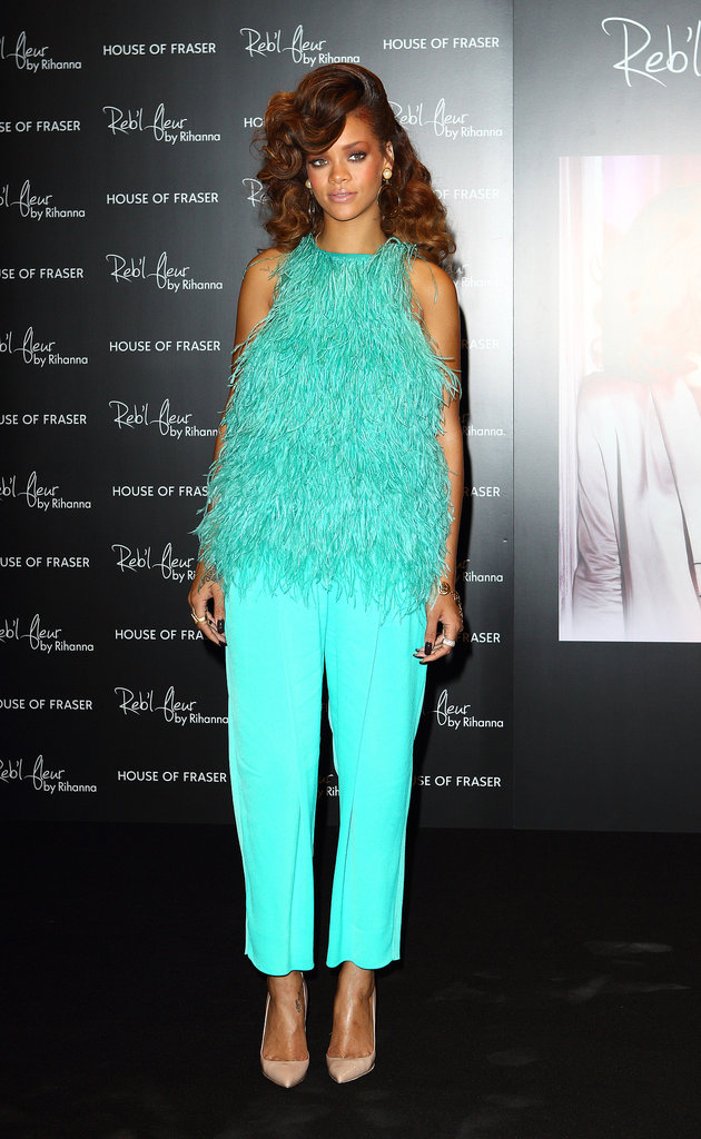 For her 2012 Reb'l Fleur fragrance launch in London, Rihanna stole the show in a turquoise feathered Antonio Berardi top and matching trousers.