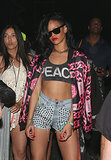 Her studded shorts made another appearance, this time styled with a peace crop top and chain-link-print Chanel jacket, for the Coachella Music Festival in April 2012.