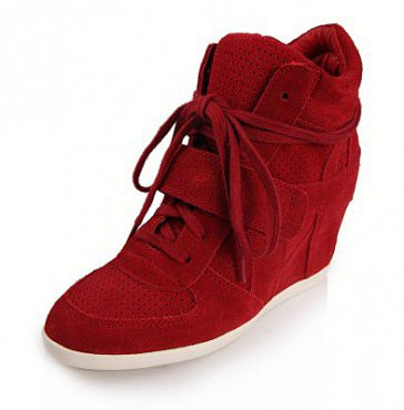 ASH BOWIE SUEDE WEDGE SNEAKERS RED