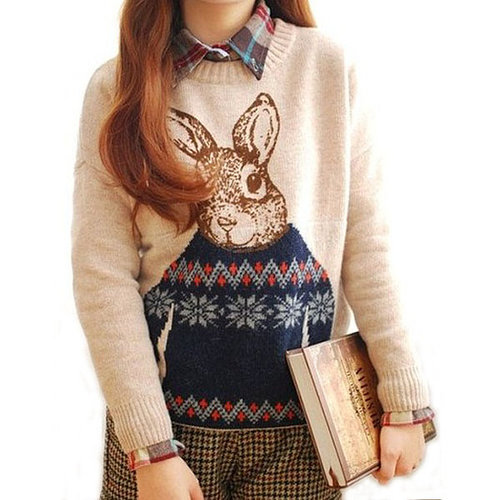 Cute Peter Rabbit Thick Autumn/Winter Sweater Significantly Thin Wild Bottoming Wool Knit Coat