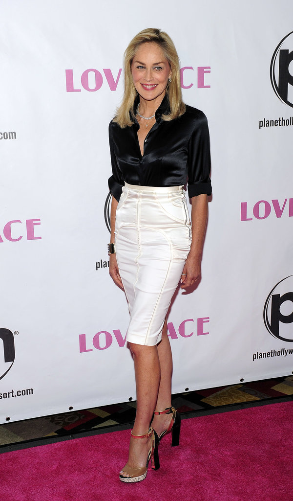 Sharon Stone defied her age in a sleek pencil skirt and button-down at the Lovelace premiere in Las Vegas.
