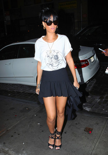 The star grabbed dinner at Catch wearing a skull-print t-shirt, a ruffled Chloë Sevigny for Opening Ceremony high-low skirt, and spike-detail sandals in May 2012.