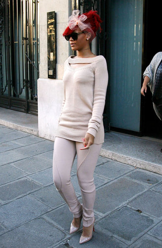 The style setter donned a toned-down nude monochrome ensemble while shopping around Paris in 2010.