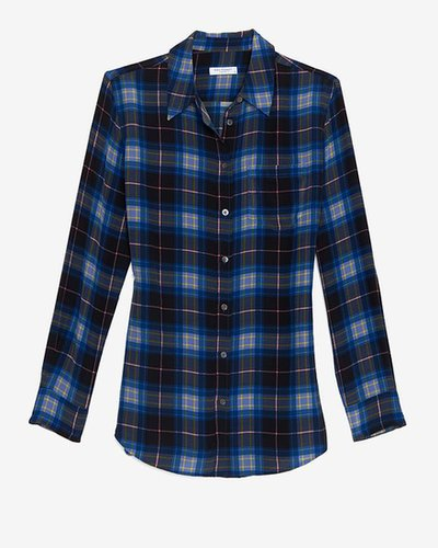 Equipment Reese Single Pocket Plaid Silk Blouse