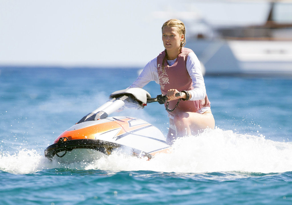 Leonardo DiCaprio's girlfriend, Toni Garrn, rode around on a Jet Ski on Friday.