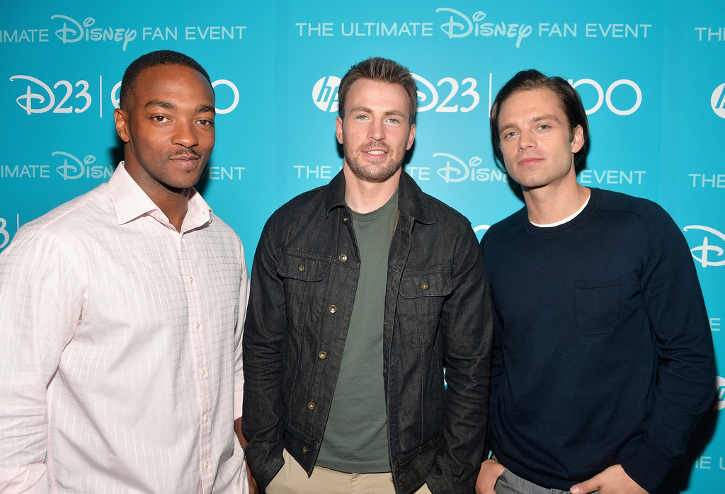 Actors Anthony Mackie, Chris Evans, and Sebastian Stan attended the D23 Expo in LA.