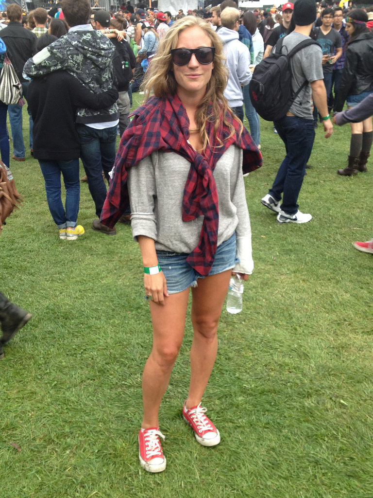 Michela's denim cutoffs, red Converse, and coordinating flannel created the perfect day-to-night look.
