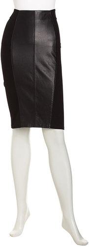 Neiman Marcus Leather-Inset Pencil Skirt, Black