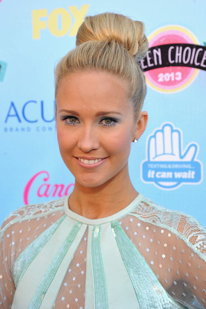 True Blood star Anna Camp opted for a ballerina bun and dusty blue shadow.