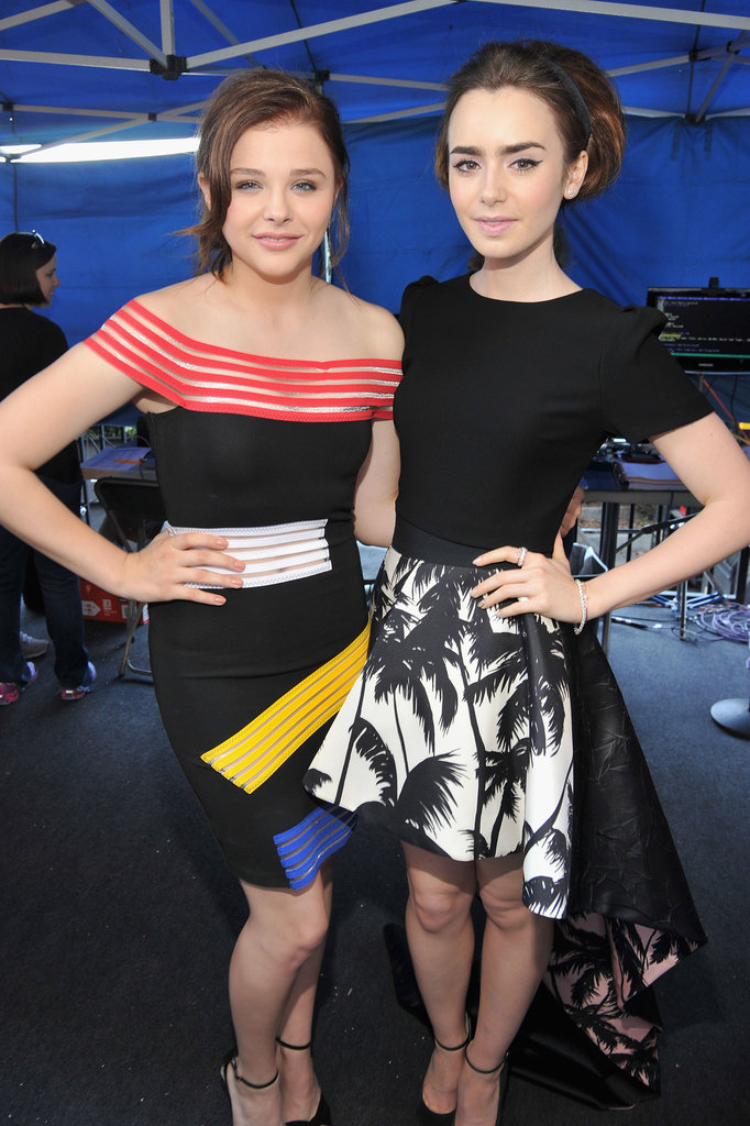Lily Collins and Chloë Grace Moretz linked up backstage at the Teen Choice Awards.