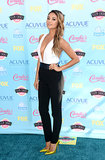 Shay Mitchell jumped on the pants bandwagon, opting for a plunging black and white Jenni Kayne look and Kimberly McDonald sparklers.