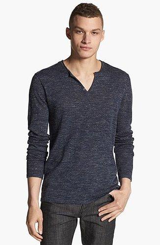 John Varvatos Star USA Henley Sweater Marine Blue Large