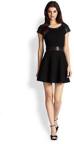 Diane von Furstenberg Delyse Leather Combo Dress