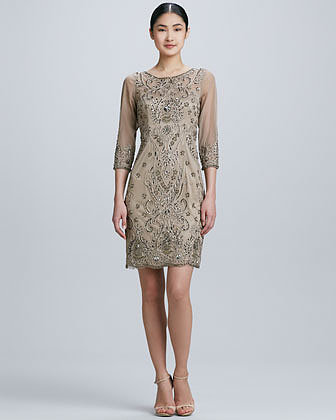 Sue Wong Three-Quarter Sleeve Cocktail Dress