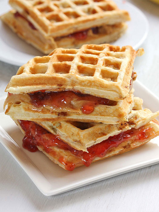 Peanut Butter and Jelly Banana Waffle Sandwiches Source: Redbook