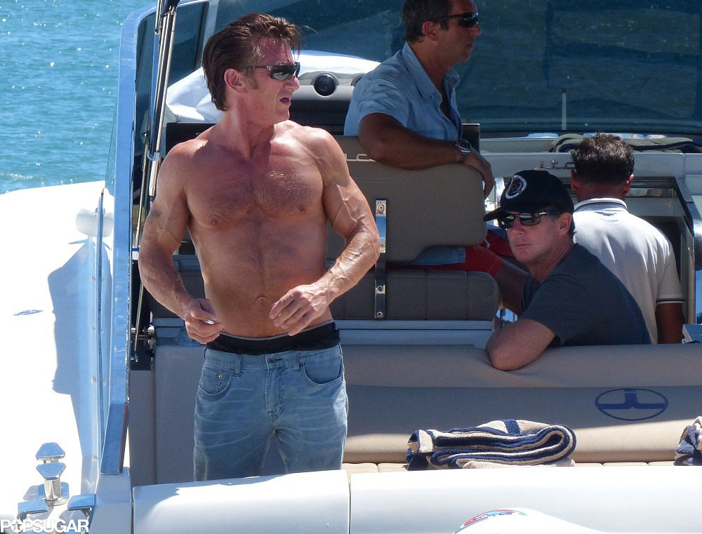 Sean Penn showed off his buff body while on a boat in Ibiza, Spain.