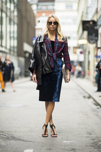 Come Fashion Week, this is the uniform — a perfect styling strategy that employs plaid, leather, the pencil skirt, and killer footwear. Source: Le 21ème | Adam Katz Sinding