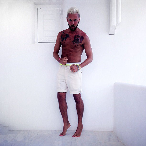 Chris Benz bared his shirtless body during a trip to Greece. Source: Instagram user cmbenz