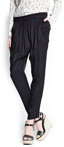 Pleated textured baggy trousers