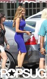 Sofia Vergara was outfitted in a sexy blue dress while on the Miami set of Chef on Monday.