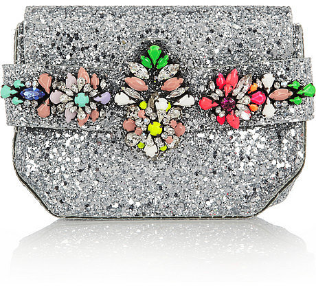 Shourouk Crystal-embellished glitter-finished PVC clutch